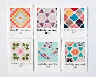 Custom Quilt Labels, 8 large personalized fabric tags for your handmade quilt