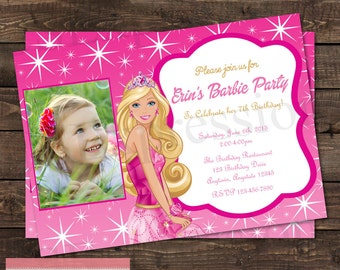 Barbie Photo Birthday Party Invitation