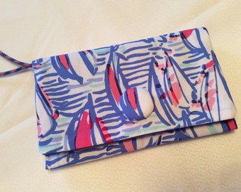 Lilly Pulitzer Right Turn Red Fabric Wristlet Clutch