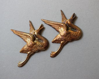 Oxidized Brass Crane Stampings