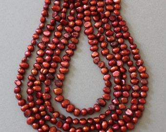 Persian Red Tiny Potato Freshwater Pearls Strand