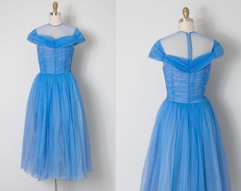 vintage 1950s prom dress / 50s chiffon prom dress / My Blue Heaven