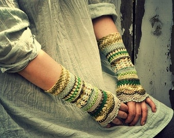 Tone of Leafs - crocheted open work lacy romantic multicolored wrist warmers mittens cuffs rustic boho style