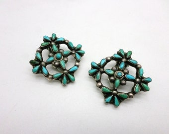 Vintage Silver and Turquoise Clip On Earrings