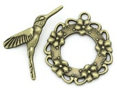 Hummingbird and Garland Antique Bronze Toggle Clasp