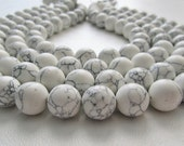 White Howlite Smooth Polished Rounds 12mm Full Strand