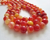 Juicy Peach Crackle Agate Faceted Disco Ball Rounds 12-13MM Half Strand