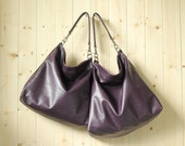 Leather bag cross body bag, medium leather purse - ALICE in eggplant