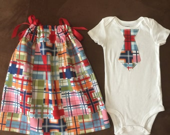 Boy/Girl Twins Matching Outfits Pillowcase Dress and Onesie 6m, 12m,18m, 24m, 2T, 3T, 4T,5T madras