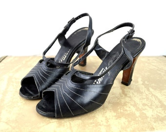 RARE RARE Vintage 1940s Amano Peep Toe Heels Pumps Shoes