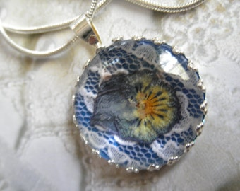 Ombre Purple and Yellow Pansy With Lace Atop True Blue Background Pressed Flower Crown Pendant-Nature's Wearable Art-Gifts Under 30