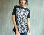 Night Flower Frame Top, black and white print, rayon jersey, modern chic- handmade to order