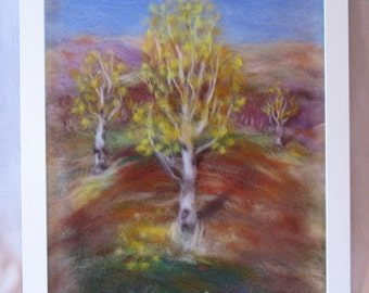 Autumn. Evening. Earth. - wool fiber art, wall hanging, wool picture
