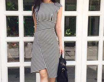 pinstripe designer inspired made to measure dress all size