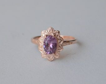 Engraved Oval Sunflower Ring in Rose Gold with Lavender Rhodolite Garnet