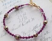 Metallic Purple and Gold Macrame Bracelet // Art Deco Beach Boho Chic