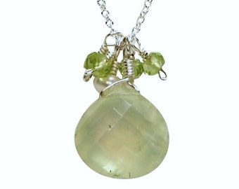 Prehnite, Peridot, and Freshwater Pearl Necklace