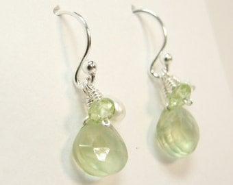 Prehnite, Peridot, and Freshwater Pearl Earrings