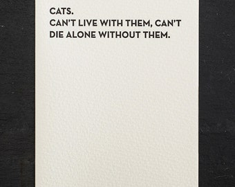 die alone. letterpress card. #908