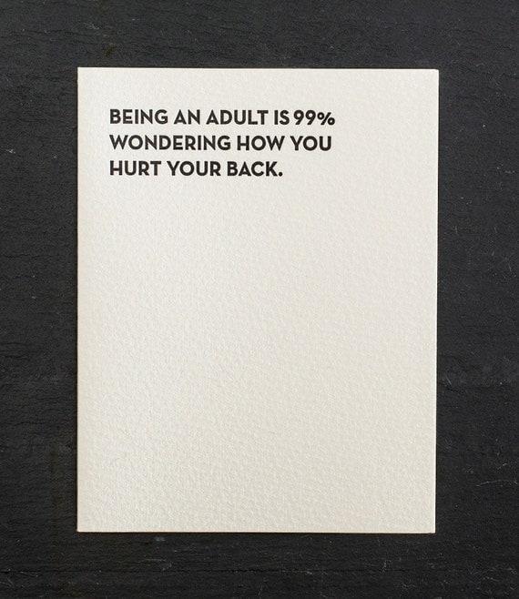 being an adult. letterpress card. #905