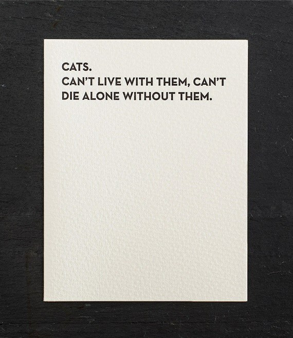 die alone. letterpress card. #908
