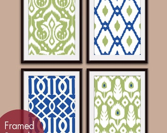 Ikat and Geometric Patterns (Series J) Set of 4 - Art Prints (Featured in Marin and Basil) Modern Vintage Home Decor