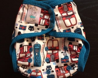 I Love London Poly PUL Cloth Diaper Cover With Aplix Hook&Loop Or Snaps You Pick Size XS/Newborn, Small, Medium, Large, or One Size