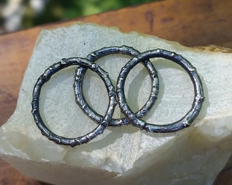 Stacking twig rings ~ oxidized sterling rings wood texture minimalist jewelry nature inspired
