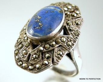 Antique Lapis and Sterling Silver Art Deco Ring with Marcasite 1920s Size 8 1/2