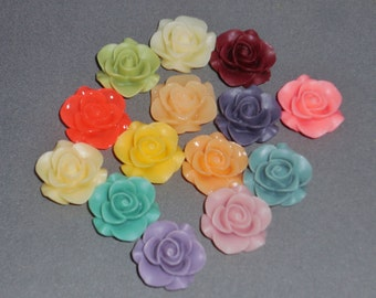 14 piece 20 mm Resin Flower Flatback Cabochon Supplies Lot Matte Floral Rose US Shipping
