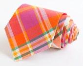 men's fuchsia, orange, and teal madras plaid necktie