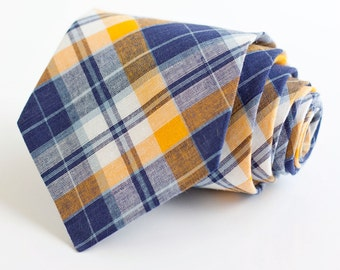 men's navy and yellow organic madras plaid necktie