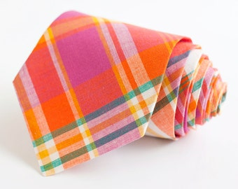 men's fuchsia, orange, and teal madras plaid necktie