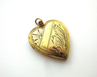 Victorian Nouveau Sterling Silver GF Etched Mourning Locket