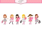 ON SALE SALE school girl clip art - girls clipart, back to school clip art, pink, small commercial personnal use,classmate clip art