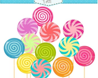 ON SALE lollipop clip art , INSTANT Download Digital clip art , cute lollipops clip art, pink, blue, green, yellow, candy clip art