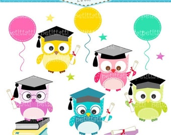 ON SALE Graduation day clip art - owls clip art, Digital clip art for all use, Graduate Owls clip art, congratulations clip art