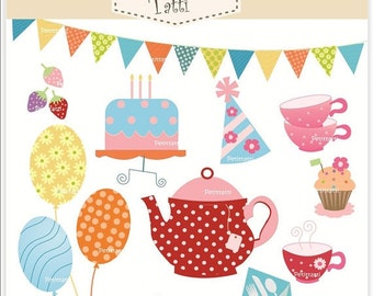 ON SALE tea party clip art - Digital clip art, red teapot clip art, tea party, INSTANT Download, clipart cake, balloons clip art, birthday c