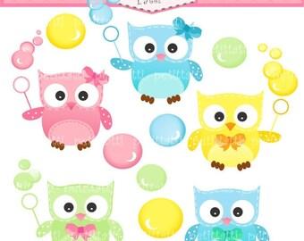ON SALE owls clip art - Digital clip art -Owls and bubble clip art, INSTANT Download, owl clip art