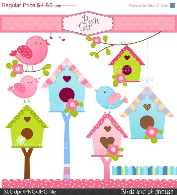 ON SALE Birds clip art, flowers clip art, birdhouse clip art, Birds and Birdhouse Digital clip art,INSTANT Download clip art, pink, blue