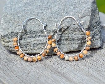 Picture Jasper and sterling silver wire wrapped hoop earrings, picture jasper earrings, picture jasper jewelry