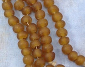 Golden Brown African Large Hole Glass Round Beads 60% off, qty 24