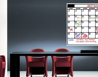 Whiteboard Calendar Removable Vinyl Decal (Sunday to Monday Planner)