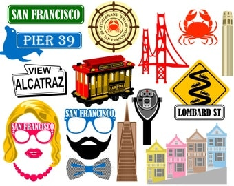 San Francisco digital photo booth props Instant download