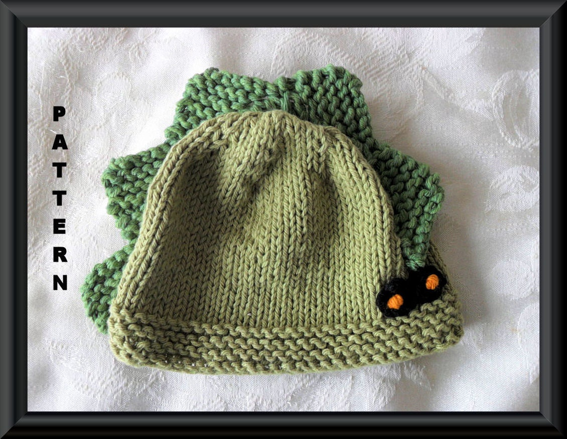 Knitted Hat Pattern Baby Hat Pattern Dinosaur Hat Pattern Baby