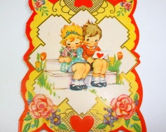 Sweet Little Valentine Day's Card, Greeting Card, Little Boy and Girl, Pink Rose, Red Heart, Unsigned, Unused, 1940's, Holiday Card  (417-15