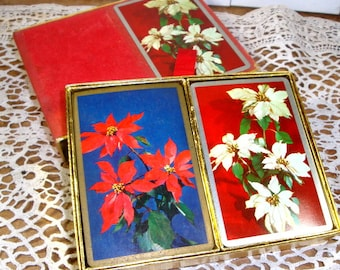 Vintage Deck Of Cards,Double Deck, Two Decks,  Christmas Playing Cards, Card Game, Holiday Poinsettias, Flowers, Blue, Red