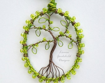 Spring green tree pendant, wire tree pendant, MADE TO ORDER tree of life pendant, green tree necklace