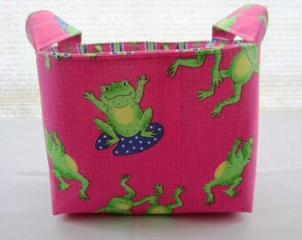 Fabric Organizer Storage Basket Bin Container  -  Pink Lime Green Frogs