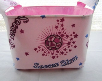 Fabric Organizer Basket Storage Bin Container - Soccer Star -